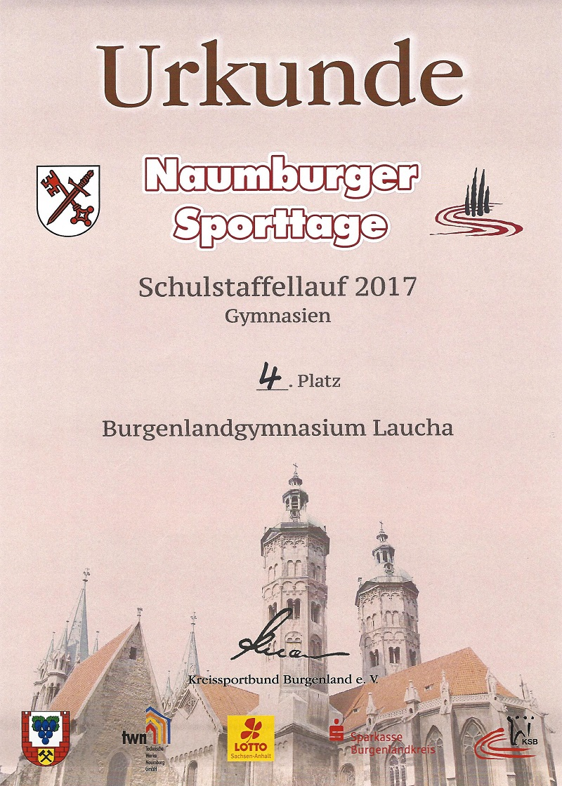 Den 4. Platz beim Schulstaffellauf in Naumburg erkämpft