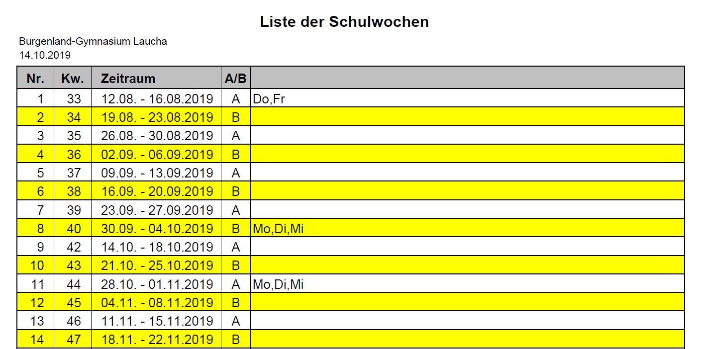 Liste der Schulwochen