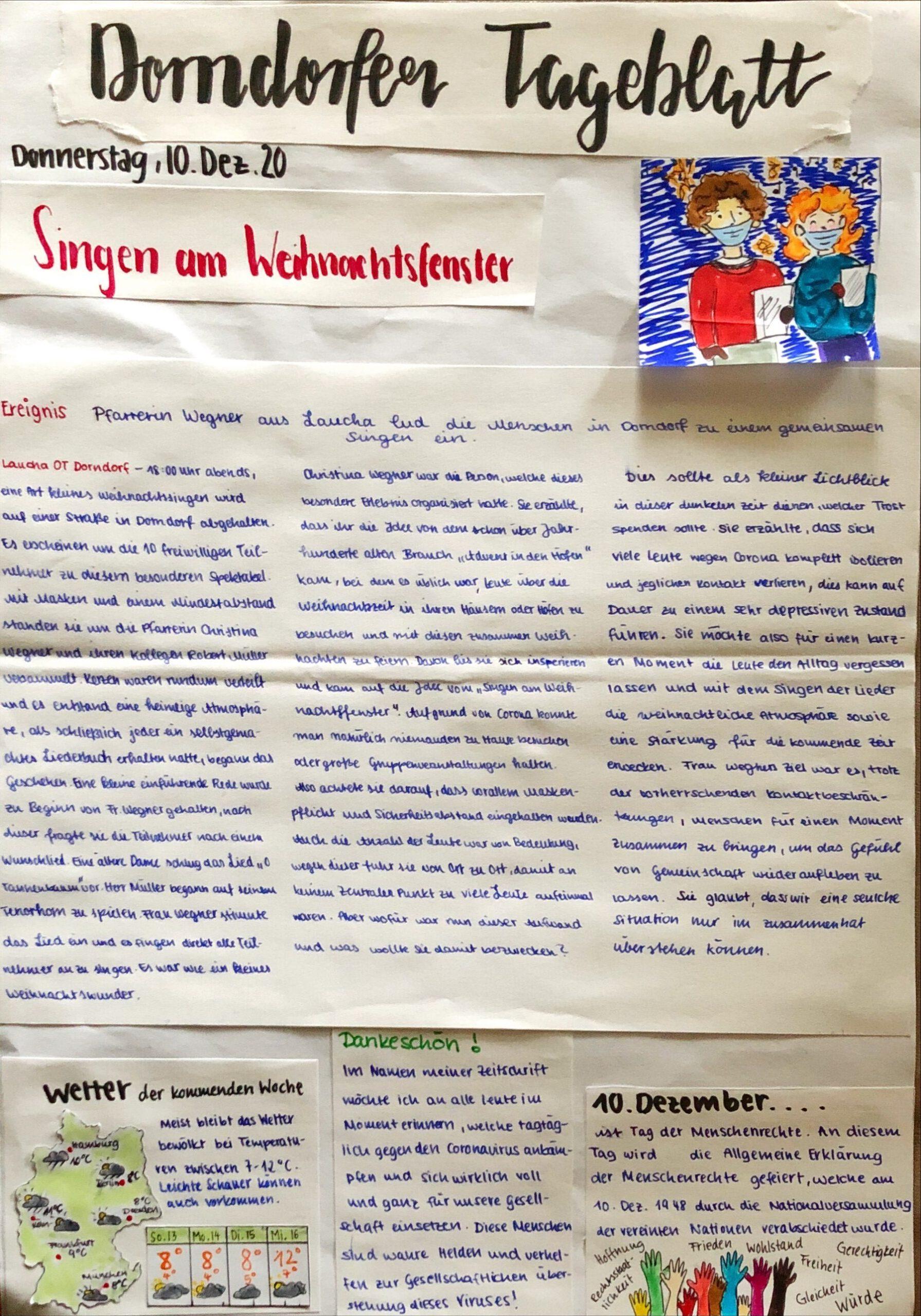 MZ – Zeitungsprojekt der Klasse 8a